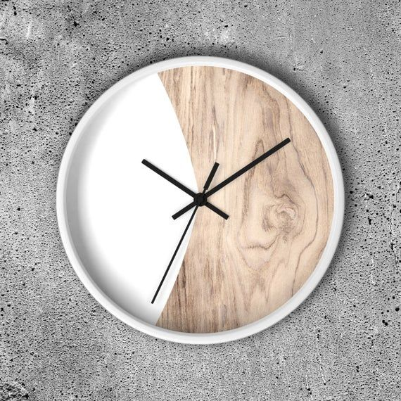 Scandinavian Style Wall Clock 10 Inch White Or Black Or Etsy In 2020 Natural Wood Frames Wall Design Wall Clock