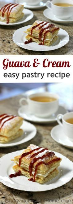 Easy Recipe for Guava and Cream Pastry Dessert inspired by Cuban culture from HappyandBlessedHome.com #PalmoliveMultiSurface & #Ad Fabulous dessert recipe, easy to make with only a few ingredients, guava pastry, cream-filled pastry, easy dessert recipe (recipe for cream puffs baking)