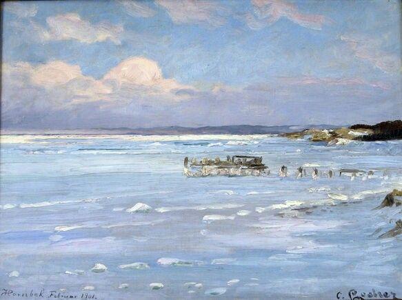 """Carl Locher: """"Sundet lukkes"""". Hornbæk strand, 1901."""
