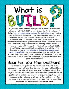 BUILD Math Center Posters and info. Free download from TPT