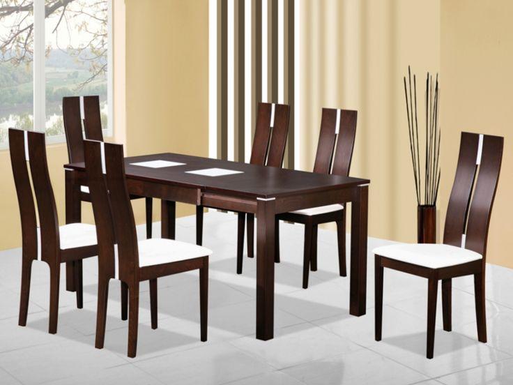 Table extensible SALENA II - 4 à 6 couverts - Hêtre massif wengé
