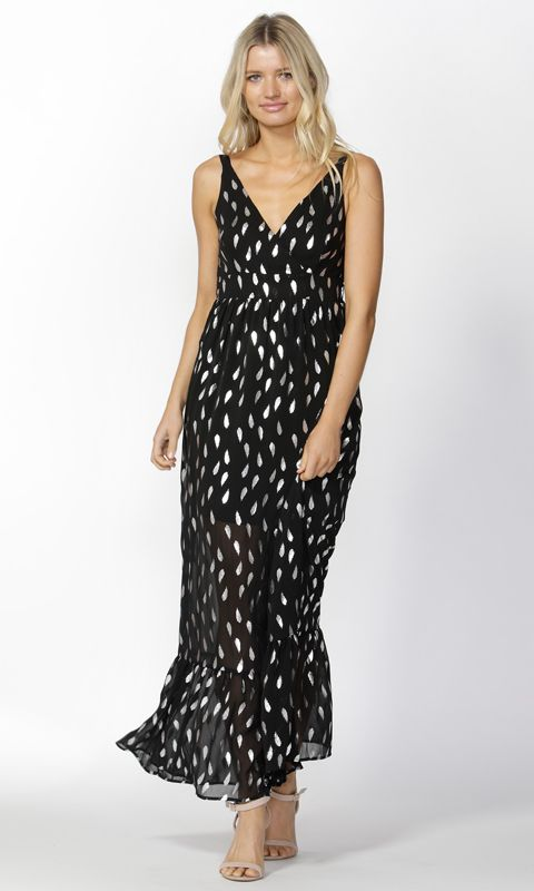Sass - Feather Foil Maxi Dress B