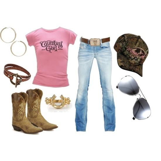 Faded jeans with pink & camp - Cowgirl Fashion