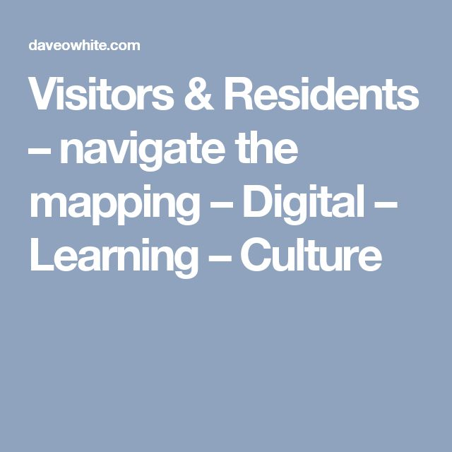 Visitors & Residents – navigate the mapping – Digital – Learning – Culture