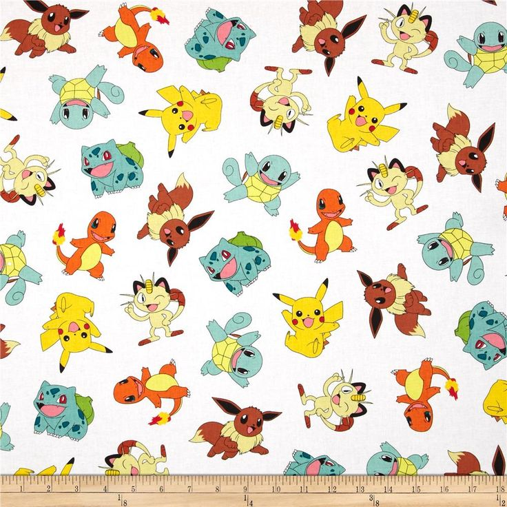 Poke'mon Tossed White from @fabricdotcom  Licensed by Nintendo for Robert Kaufman, this cotton print fabric is perfect for quilting, apparel and home decor accents. Colors include blue, green, brown, yellow, black, red, pink, and white.