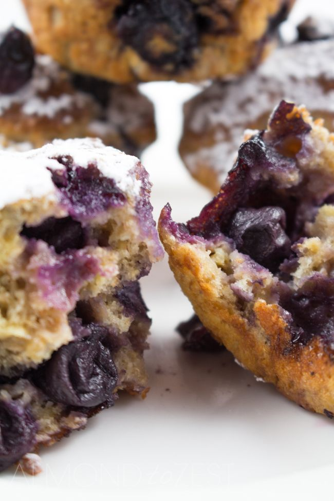Blueberry, Yogurt and Whole-wheat Muffins - Light and airy muffins made with whole-wheat flour and yogurt, loaded with plump, juicy blueberries! Healthy and guilt-free!!