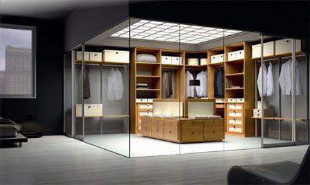 Moderno vestidor con paredes de cristal de Spazzi http://www.bonitadecoracion.com/2012/06/moderno-vestidor-con-paredes-de-cristal.html
