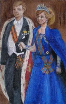 W. Alexander en Maxima 6x10 cm Olie