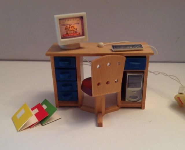 Vintage Lundby Dolls House Desk, Chair and Computer | eBay