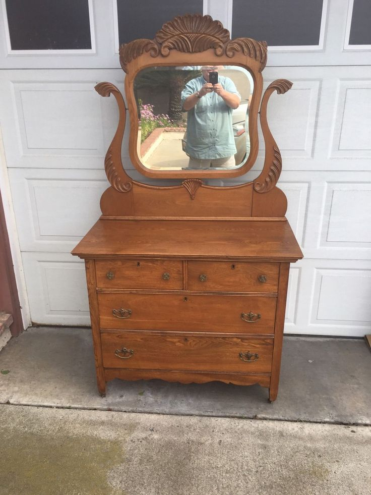 Beautiful professionally refinished Solid oak Dresser with mirror! In Very nice condition overall! Local pick up only unless you make all the shipping arrangements , pay and have it picked up here by the shipper! | eBay!