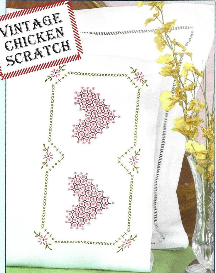 Jack Dempsey Chicken Scratch Hearts 1600-514 Perle Edge Pillowcases Stamped for Cross Stitch & Embroidery