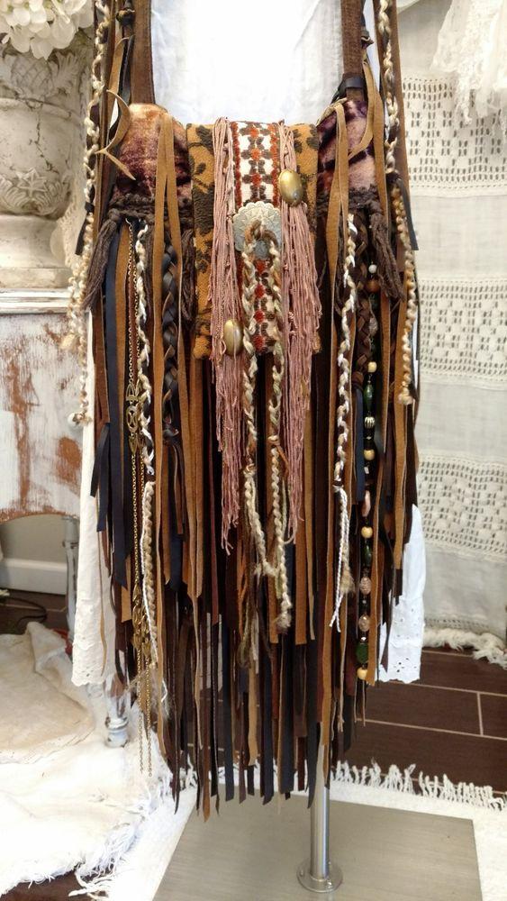 Handmade Fabric & Brown Leather Fringe Bag Hippie Festival Boho Purse tmyers #HandmadebyTraciMyersMe #Crossbody