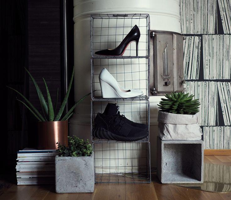 Shoe Shelf - DIY (iron baskets from Granit)   Black high heels  - Christian Louboutin | White high heels  - Zara | Sneakers  - Adida...
