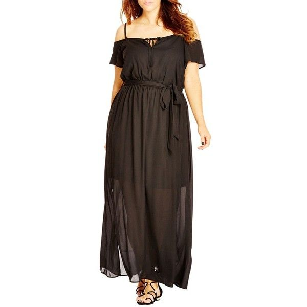 Plus Size Women's City Chic Cold Shoulder Maxi Dress (3,115 THB) ❤ liked on Polyvore featuring dresses, black, plus size, plus size chiffon dresses, plus size boho dresses, boho dresses, plus size bohemian dresses and boho maxi dress