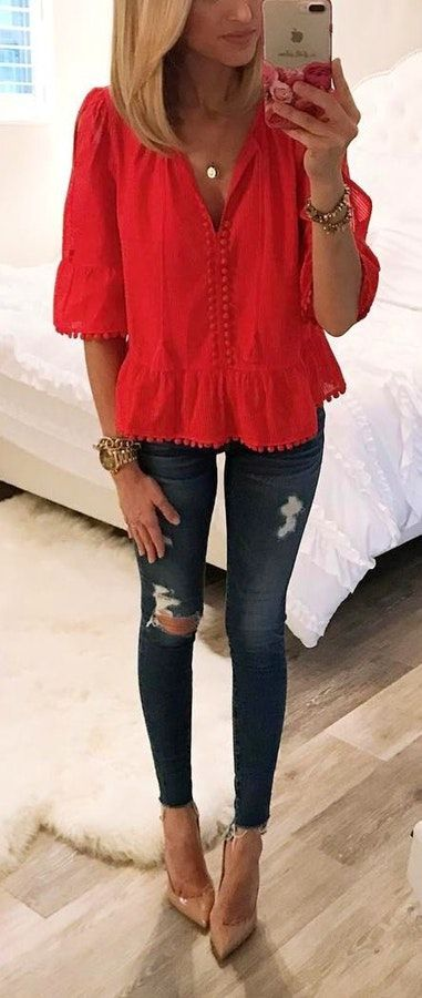 43cafceb9b43  summer  outfits  fashion Red Peplum Top + Ripped Skinny Jeans + Nude Pumps