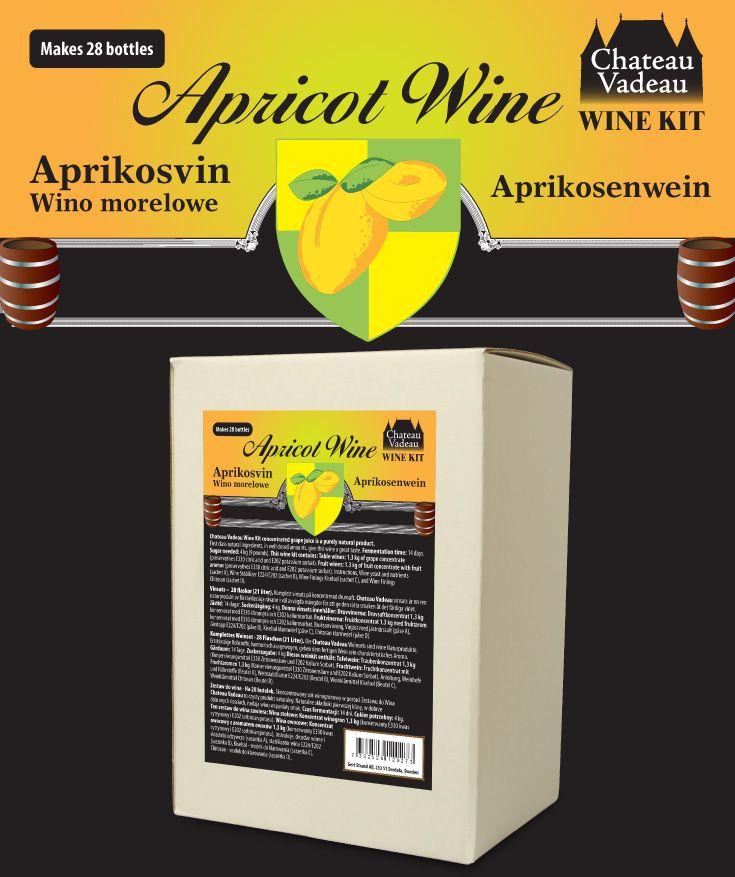 Chateau Vadeau Aprikosvin vinsats ger 21 liter - 28 flaskor a 75 cl - lättdrucket bordvin. Tillsätt vatten och 4 kg socker. Alla andra ingredienser medföljer.
