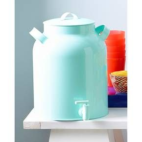 """<p>Give yourself an excuse to throw a party with a Metal Beverage Dispenser in aqua green. Country-kitchen meets modern style in this charming piece. Inspired by vintage metal milk cans, this steel drink dispenser boasts functional side handles and a handled lid. An attached spigot and a giant, 10 liter capacity make it perfect for summertime parties. Hand wash only. Dimensions: 12.5"""" H x 9.13"""" W x 9.13"""" D.</p>"""