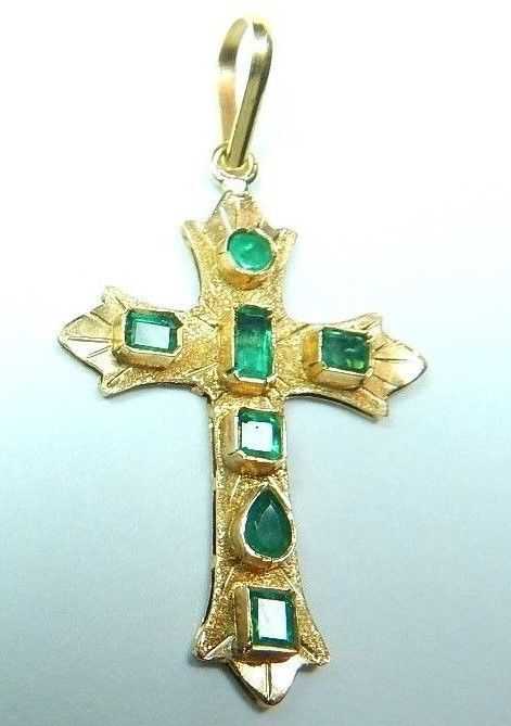 Colombian Emerald Cross Pendant 0.75 Cts 18K Yellow Gold Antique Style Fine Muzo #HandmadeByCeCi #CrossPendant