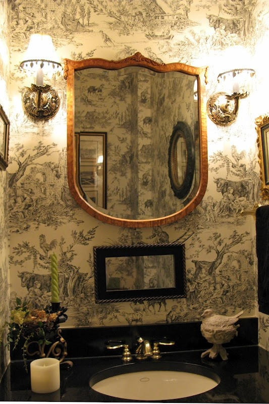 Pretty bathroom ...love the black and white toile
