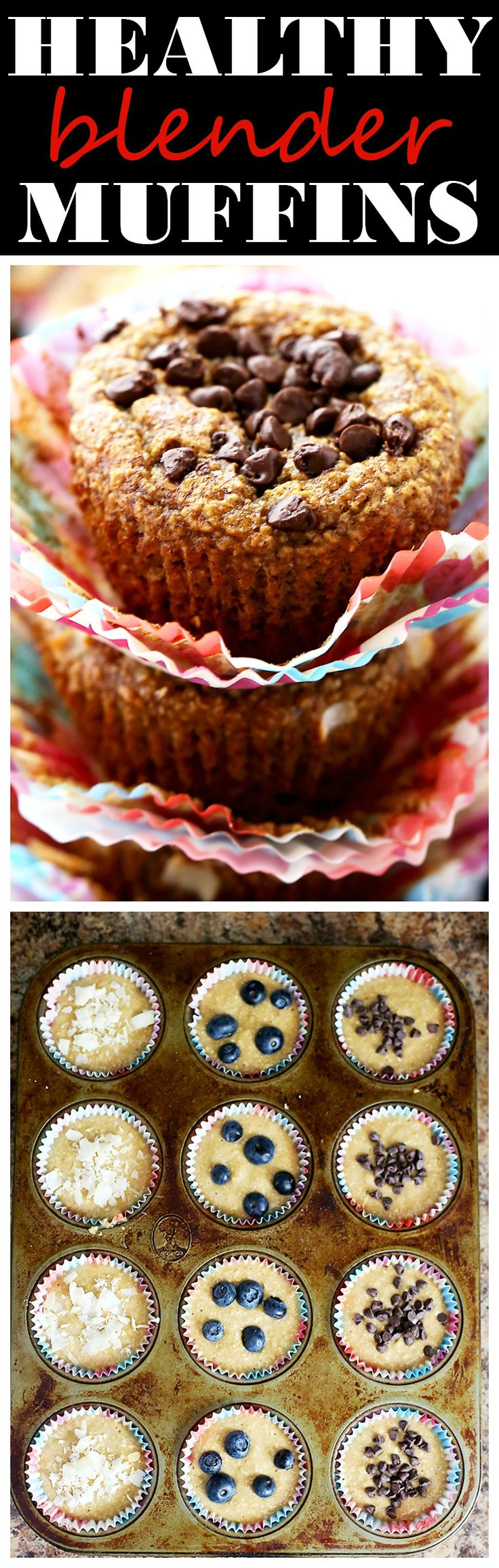 Healthy Flourless Blender Muffins –  Super soft and healthy muffins packed with oats and bananas, and whipped up in the blender. SO delicious, you won't believe they are under 110 calories each!