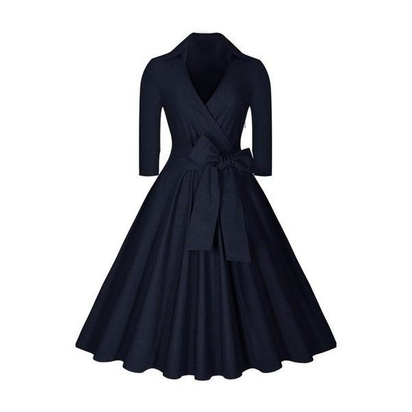 Navy Blue Plus Size High Waist Dress ($30) found on Polyvore featuring women's fashion, dresses, navy blue, v neck dress, navy plus size dress, women plus size dresses, knee-length dresses and three quarter sleeve dress