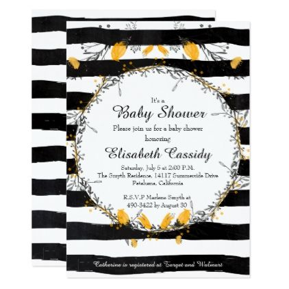 Floral Wreath Black Yellow Baby Shower Invitation - baby gifts child new born gift idea diy cyo special unique design