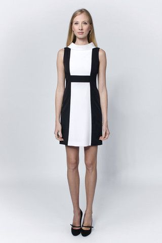 Black & white dress with stand up cowl collar | LACCA Fashion