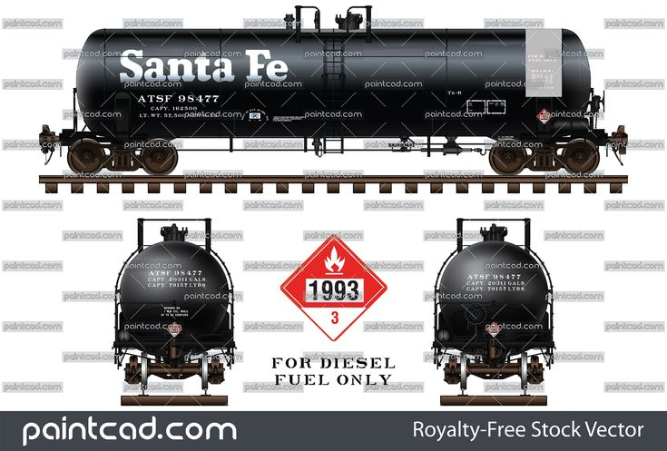 Santa Fe Railway Tank Car Dot 111 For Diesel Fuel Only Diesel Fuel Canadian Tanks Burlington Northern
