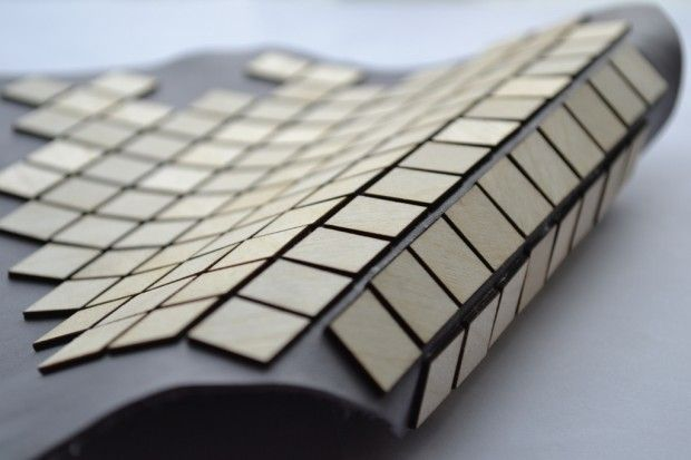 Geometric Textiles Design - flexible wooden fabric with leather & laser cut tiles for pattern & texture // Laura Krumina