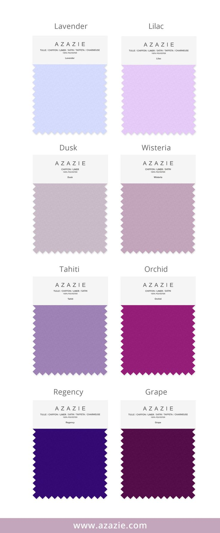Azazie Purple Swatch Set (8 shades * 6 fabrics) - Bridesmaid dress, Wedding, Wedding gown, Lavender, Lilac, Dusk, Wisteria, Tahiti, Orchid, Regency, Grape, chiffon, mesh, lace