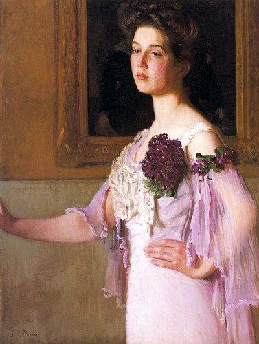"""""""Lady with the Violet Corsage (Portrait of Mrs. J.C. Grew)"""", 1903, by Lilla Cabot Perry (American, 1848-1943). The artist's daughter Alice (Mrs. J.C. Grew) served as the model for this, and many other, paintings."""