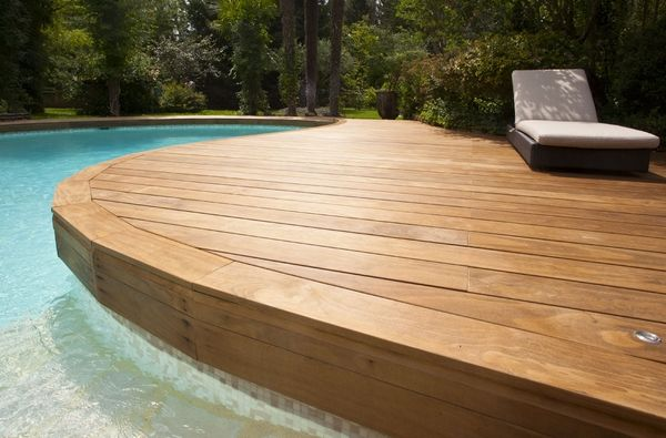 Image result for wood pool edging