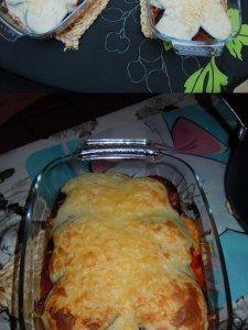 aubergine, pomme de terre, boeuf haché, tomate, oignon, huile d'olive, beurre, cannelle, miel, muscade, poivre, Sel, beurre, farine...