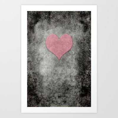 Valentines Grunge Love in Opal Pink Art Print by Bruce Stanfield - $15.00
