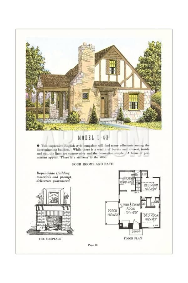 Tudor Style Model House And Floor Plan Art Print At Art Com Vintage House Plans Floor Plans Cottage House Plans