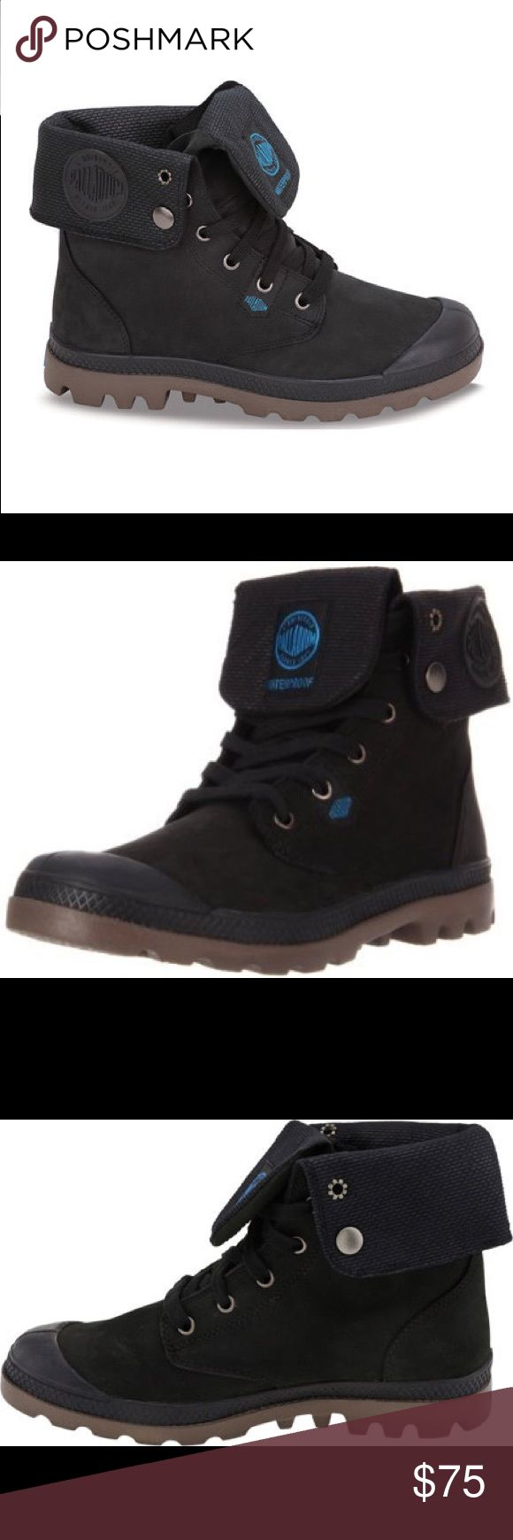 🔥 Palladium Waterproof Leather Boots 🔥 Waterproof leather boots, only worn a few times.  Can be worn folded down or up (has snaps).  Oiled Nubuck leather, blue Palladium logo.  Single-unit molded rubber outside, EVA-cushioned footbed. Palladium Shoes Lace Up Boots