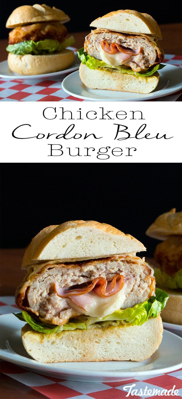 Ham and cheese can be found in the most unexpected of places. This chicken burger is stuffed with a cheesy meaty surprise!