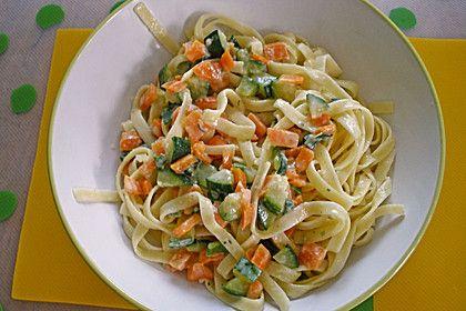 Spaghetti mit Zucchini-Möhren-Rahmsauce, ein schönes Rezept aus der Kategorie Kochen.