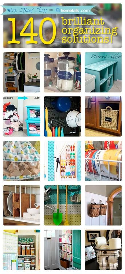 DIY::140- Yes #140 Brilliant Organizing Solutions For Your Home ! This is the Absolute Ultimate Organizing Resource !! Curated by @Sharon @ mrs. hines class