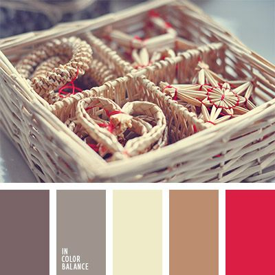 The color palette number 1050  Nina Panina, red, beige and shades of red, crimson-red, shades of beige, browns, color matching, pinkish-gray, gray with a hint of pink color in eco style,