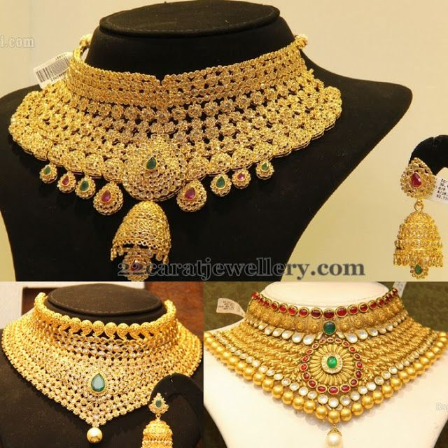Jewellery Designs: Bridal Chokers in Uncut Diamonds