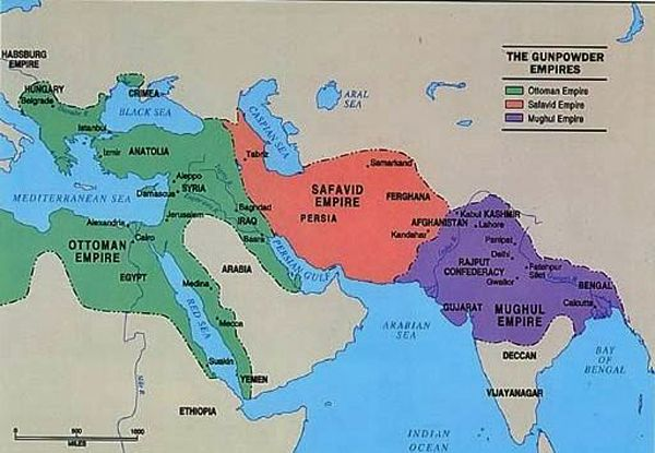 This map shows the three most powerful empires of the time.  The Ottoman Empire, Safavid Empire, and the Mughal Empire.