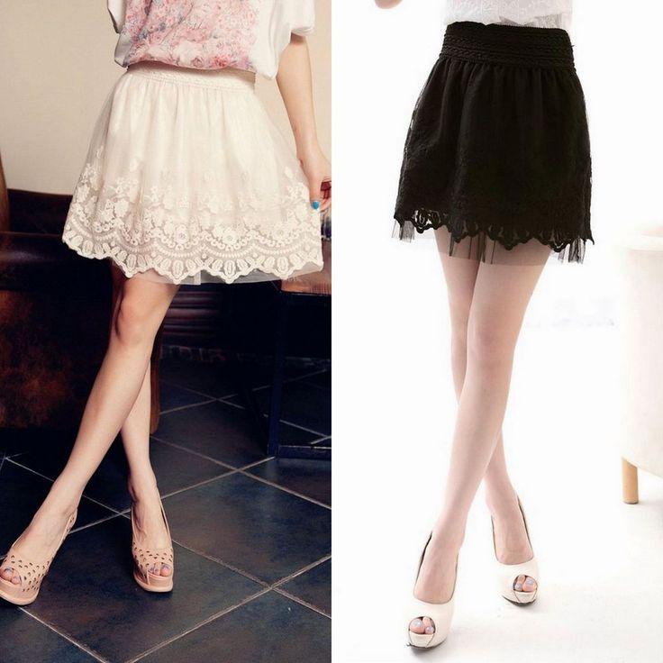Korean Style Girls Women Elastic Waist Bubble Tutu Floral Lace Tulle Mini Skirt #Unbranded #Bubble