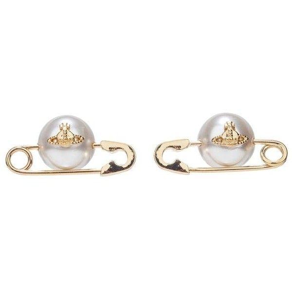 Vivienne Westwood Jordan Earrings Gold Pearl ($105) ❤ liked on Polyvore featuring jewelry, earrings, gold pearl jewelry, earring jewelry, safety pin jewelry, vivienne westwood jewellery and gold pearl earrings
