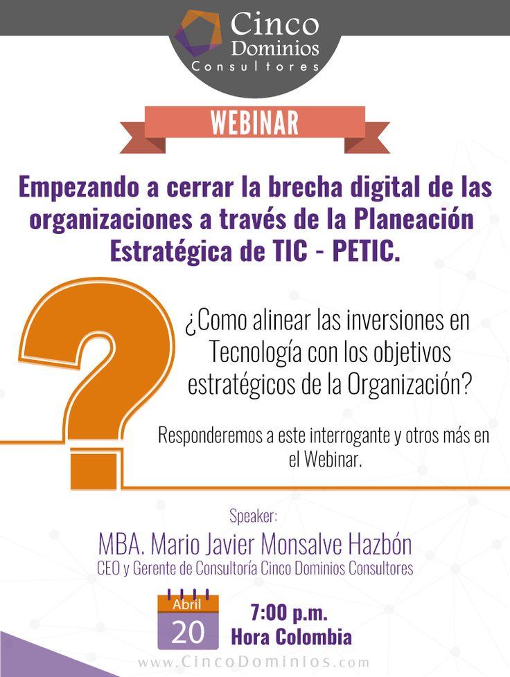¿Cómo alinear las inversiones en Tecnología con los objetivos estratégicos de la Organización? Responderemos este interrogante y otros más en nuestro Webinar. ¡Regístrese! http://goo.gl/YUjRnn  Contaremos con la participación de nuestro CEO & Gerente de Consultoría: MBA. Mario Javier Monsalve Hazbón.  #Webinar #PETI #PETIC #Tecnologia #TI #TIC