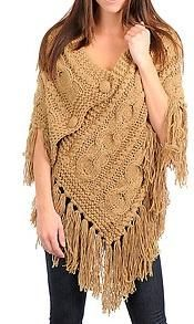 CAMEL BEIGE CABLE BRAID CROCHET KNIT PONCHO SHAWL....love it!!!