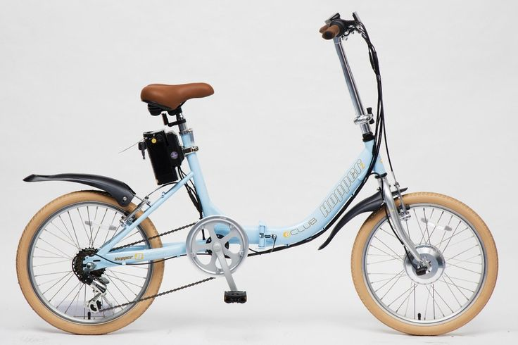 "Hopper E-Club Folding 6 Speed Electric Bike 20"" Wheel Sky Blue"