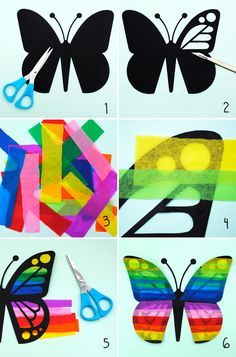kids craft // butterfly sun catcher.   Made with construction paper and tissue paper.