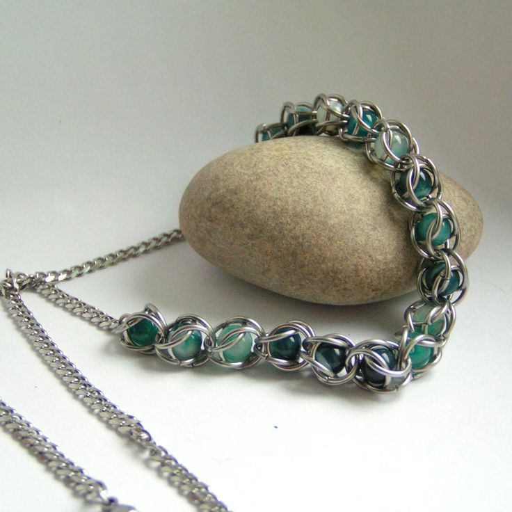 chainmaille+steel+stainless+beads+necklace my work krouzkarka.cz