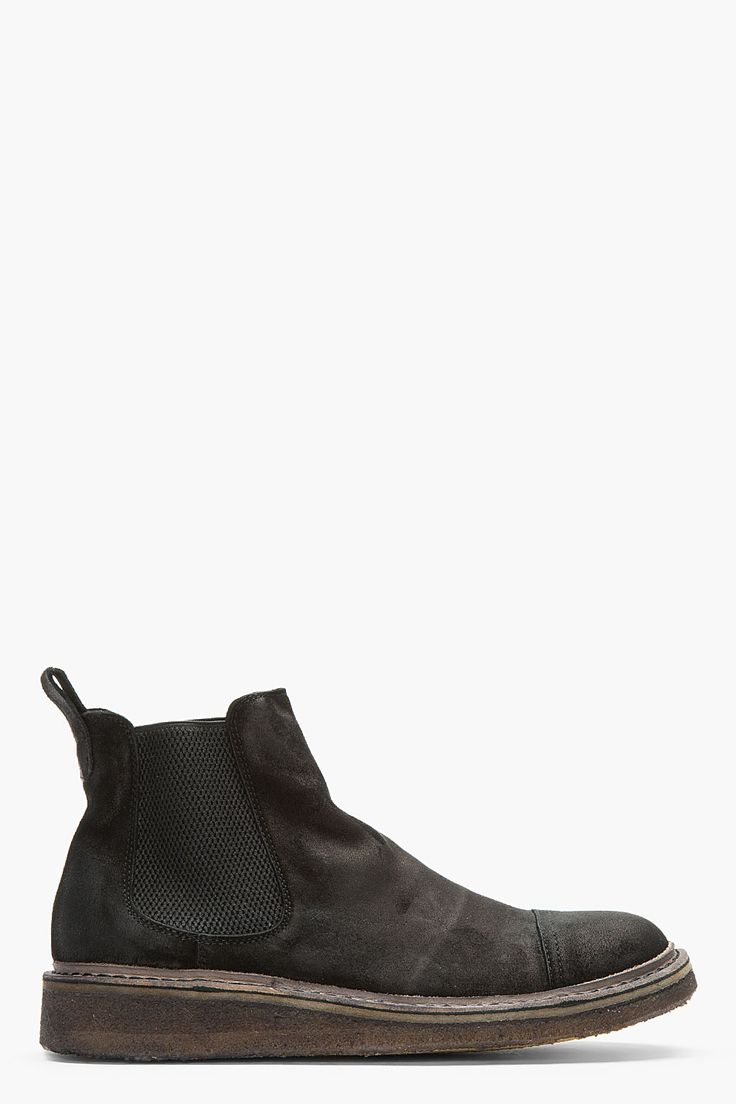 FIORENTINI + BAKER Black Distressed Suede Tommy Tayler Chelsea Boots